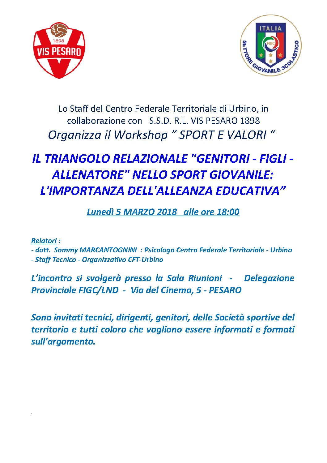 WORKSHOP SETTORE GIOVANILE
