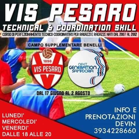 VIS PESARO SG: DAL 17 GIUGNO RIPARTE TECHNICAL & COORDINATION SKILL